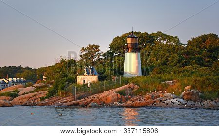 Ten Pound Island Lighthouse On Tenpound Island, Gloucester, Cape Ann, Massachusetts Ma, Usa.