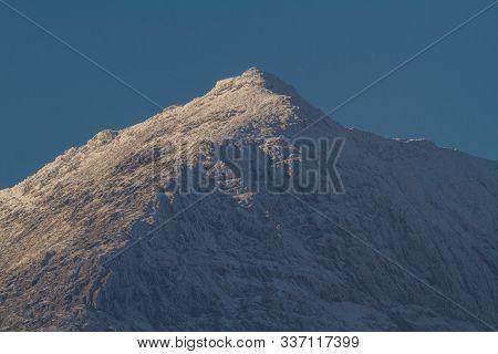 Snow Capped Peak Of Mount Snowdon.