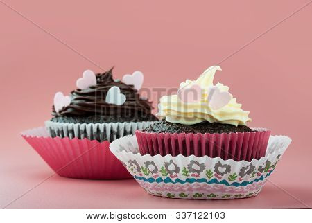 Chocolate Cupcake With Vanilla Chocolate Icing And Eatable Hearts, In Nice Decorative Paper Mold, Pi