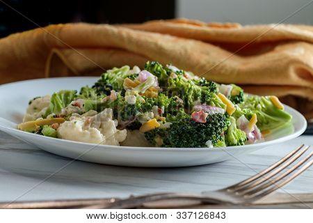 Broccoli And Cauliflower Bound Salad With Mayonnaise Dressing