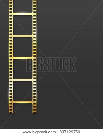 Realistic 3d Gold Cinema Film Strip Isolated On Grey Background. Festive Design Cinema Film Reel Fra