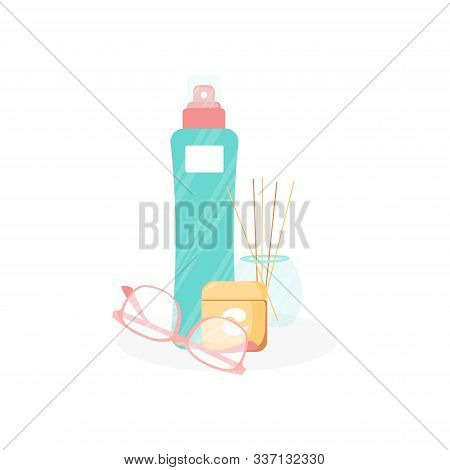 Winter Cute Season Design. Skin Patch And Losion Bottle, Glasses And Cream For Beauty Industry. Cute