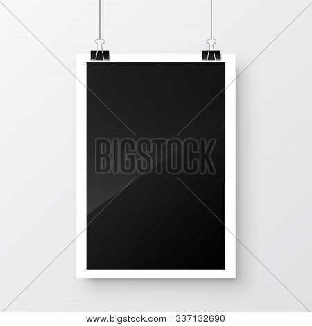 Photo Card Frame, Film Hanging On Paper Clips. Digital Snapshot Image. Photography Art. Photograph T