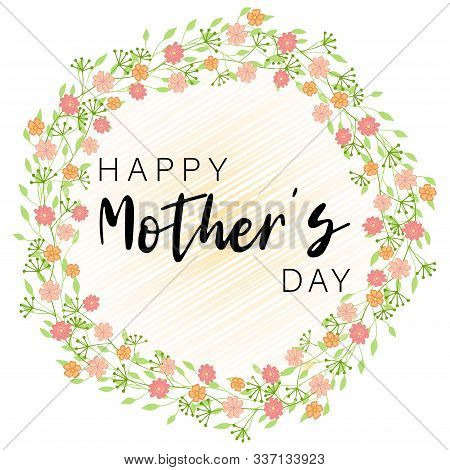 Flower Happy Mother Day In Beautiful Style On White Background. Design Template Greeting Card. Vinta