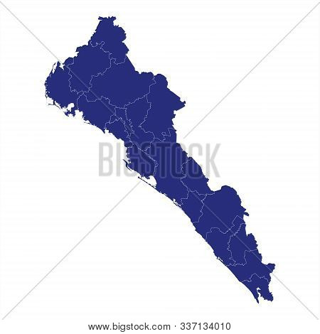 High Quality Map Of Sinaloa Is A State Of Mexico, With Borders Of The Municipalities