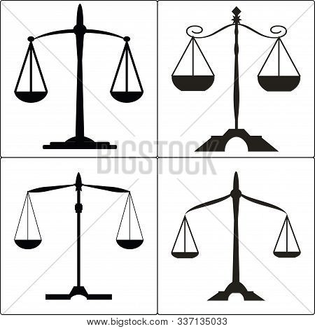 Set Of Four Icons, Black And White, Symbolizing The Judicial System.