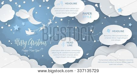 Vector Horizontal Scene With Text Merry Christmas, Paper Cut-out Cloud, 3D Stars, Snowfall And Santa