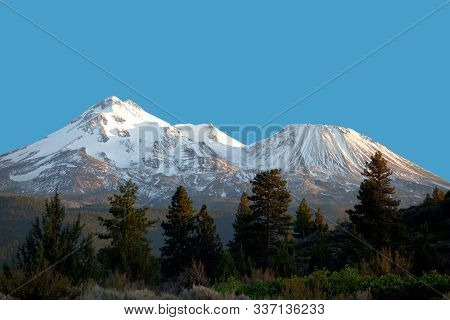 Mount Shasta Volcano At Sunset, California, Usa