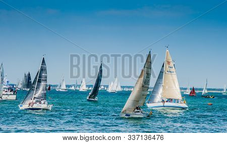Isle Of Wight , August 2018 Sailing Boats In Cowes Week , Island Yacht Race Took Place Off The South