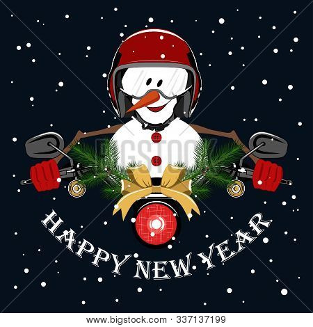 Vector Image Of A Cheerful Snowman Driving A Motorcycle. Snowman In A Motorcycle Helmet, Motorcycle