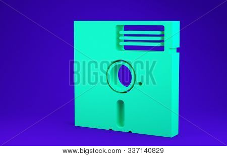 Green Floppy Disk In The 5.25-inch Icon Isolated On Blue Background. Floppy Disk For Computer Data S