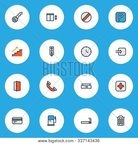Navigation Icons Colored Line Set With Gas Station, Clock, Smoke And Other Stoplight Elements. Isola