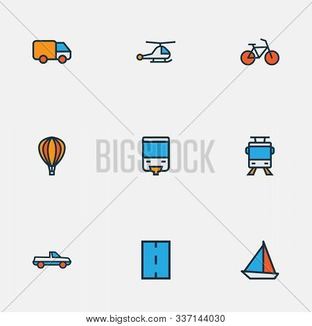 Shipment Icons Colored Line Set With Road, Monorail, Bike And Other Suv Elements. Isolated Vector Il