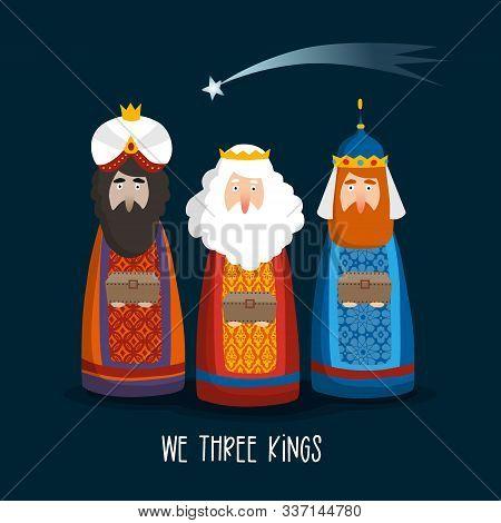 Christmas Greeting Card, Invitation. Cute Three Magi Bringing Gifts. Biblical Kings Caspar, Melchior