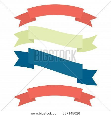 Set Of Decorative Ribbons In Different Colors. Red, Green And Blue. Vector Flat Illustration