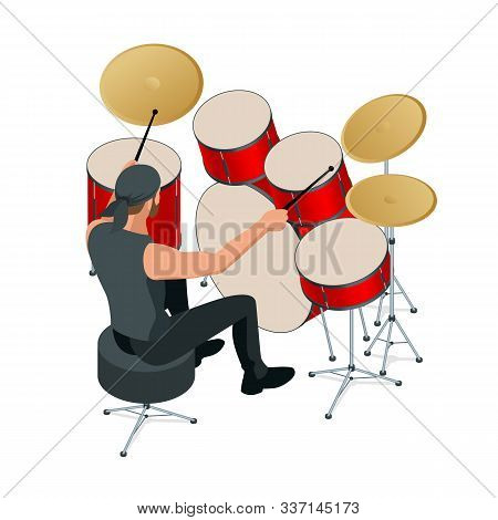 Drummer Behind The Drum Set. Rehearsal Base, Drummer Playing The Drums Set Isolated, Back View