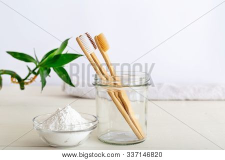 Bamboo Toothbrushes, Dentifrice Tooth Powder On White Background. Natural Bath Products, Bamboo Plan