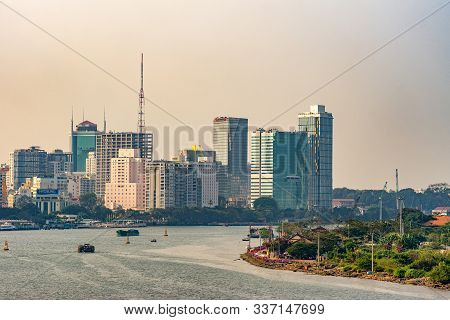 Ho Chi Minh City, Vietnam - March 13, 2019: Sunset Sky Shot Over Song Sai Gon River And Part Of Boar