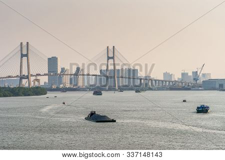 Ho Chi Minh City, Vietnam - March 13, 2019: Sunset Sky Shot Over Song Sai Gon River. Part Of Phu My