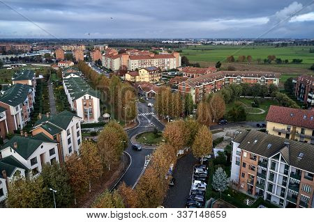 Aerial View Of Italian City Torino Turin In Autumn With The Clouds At The Horizon. Piemonte.