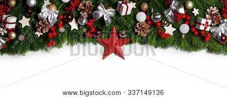 Christmas New year decoration frame isolated on white