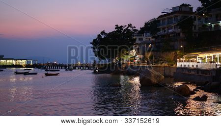 Lamma Island, Hong Kong 24 October 2019: Hong Kong lamma island sunset