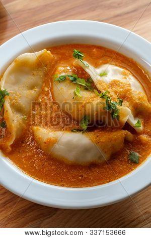 Nepalese Momo Jhol Achar Dumpling Soup In Spicy Tomato Chutney