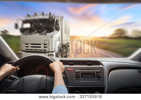 Car Crash Accident On The Road. The Inside Of A Car That Is About To Crash Into A Truck.