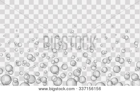 Air Bubbles On Transparent Background. Underwater Air Bubbles, Fizzy Water Or Soap Foam Texture. Eff