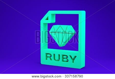 Green Ruby File Document. Download Ruby Button Icon Isolated On Blue Background. Ruby File Symbol. M