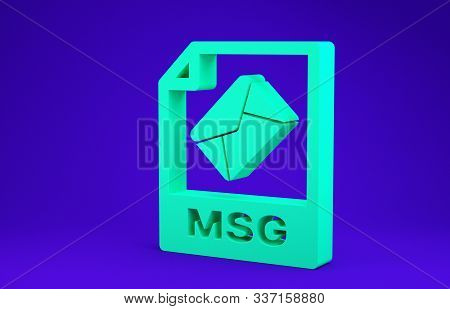Green Msg File Document. Download Msg Button Icon Isolated On Blue Background. Msg File Symbol. Mini