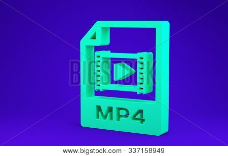 Green Mp4 File Document. Download Mp4 Button Icon Isolated On Blue Background. Mp4 File Symbol. Mini