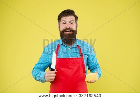 Lets Make Sandwich. Cheese Maker Own Business. Hipster With Beard In Chef Apron. Dairy Food Shop. Ch