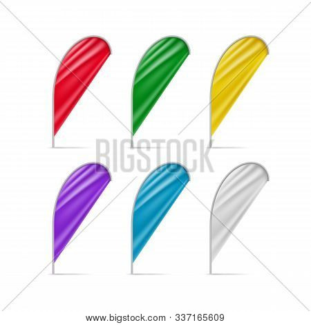 Colorful Drop Flags Set Isolated On White Background. Realistic Blank Flag For Outdoor Event Present