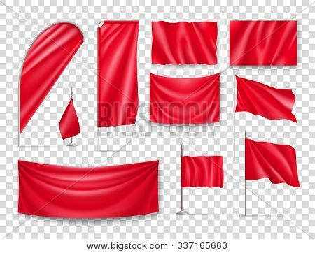 Red Rectangular Flags Set Isolated On Transparent Background. Realistic Wavy Flag On Pole, Expo Bann