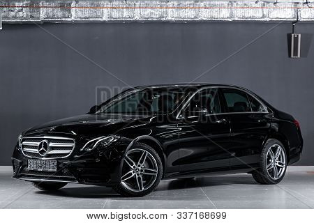 Novosibirsk, Russia - November 19, 2019: New Black Mercedes-benz E-class,front View.  Photography Of