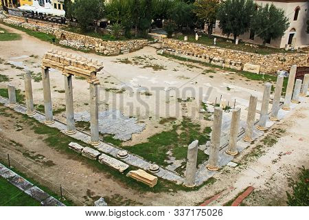 Ancient Excavated Roman Agora Ruins Near The Tower Of The Winds In Athens, Greece.