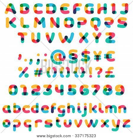 Overlapping One Line Full Set Alphabet. Curve Rounded Font. Vibrant Glossy Colors.