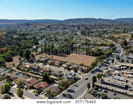Aerial View Of Small City Poway In Suburb Of San Diego County, California, United States. Small Road