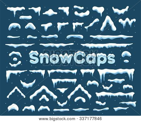 Snow Cap With Icicle Ornament Graphic. Winter Decoration Element With Snow Pile And Icicles For Flat