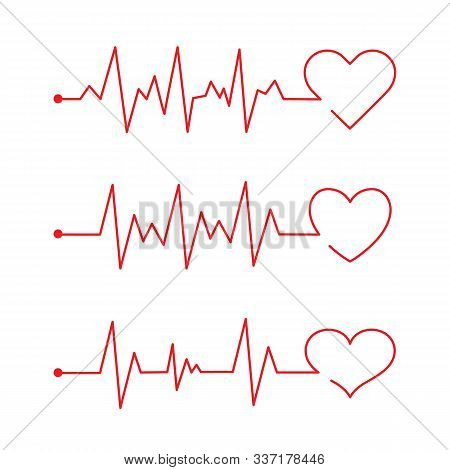 Heart Pace Line With Heart Shape. Cardiology Clinic Logo. Abstract Ecg Heartbeat Line. Valentines Da