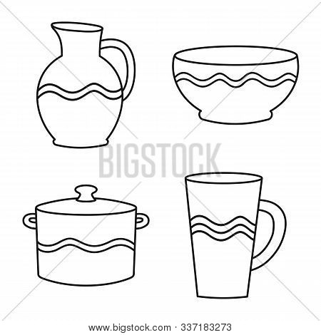 Vector Design Of Ware And Tableware Symbol. Set Of Ware And Clayware Vector Icon For Stock.