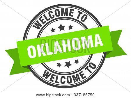Oklahoma Stamp. Welcome To Oklahoma Green Sign