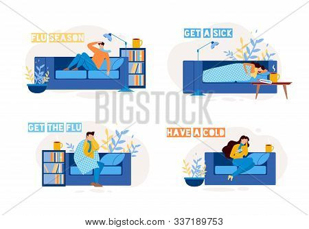 Sick People Characters On Sofa Flat Set. Man And Woman Have Cold, Suffering From Flu, Influenza, Inf