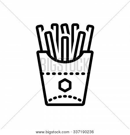 Black Line Icon For French-fries French Fries  Potato-chips Calories Snack