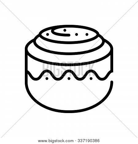 Black Line Icon For Cinnamon-roll Cinnamon Roll Cinnamon-bun Pastry