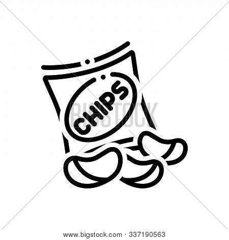 Black Line Icon For Potato-chips Potato Chips  Fried  Crisp Snacks