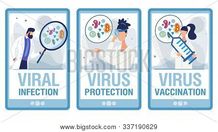 Viral Infection Diagnosis. Doctors In Uniform With Magnifying Glasses Researching Laboratory Tests,
