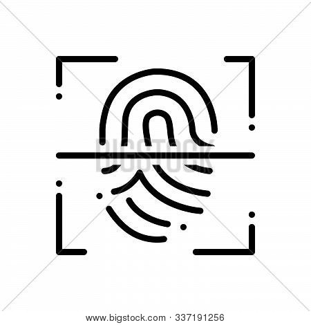 Black Line Icon For Fingerprint-scanner Fingerprint Scanner  Authorization Security Biometric Identi