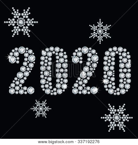 The Crystals 2020 Year From Diamond On A Black Background And Snowflakes